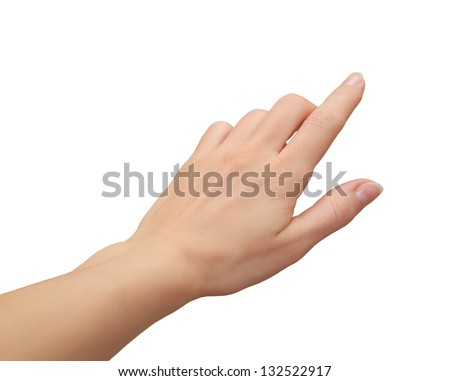 Female hand clicking, touching virtual screen isolated on white background - stock photo
