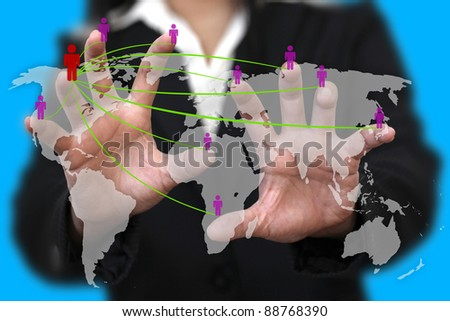 female hand do social network concept with world map background - stock photo