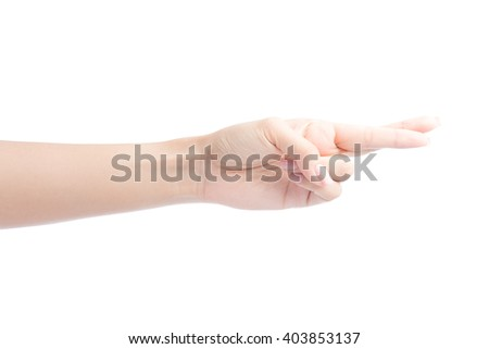 Female hand fingers crossed Isolated on white with clipping path included - stock photo