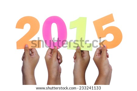 female hand forming number 2015 on white background - stock photo