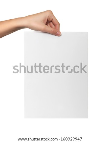 female hand hold white paper isolated - stock photo