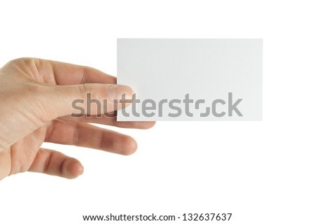Female hand holding a business card, clipping path included - stock photo