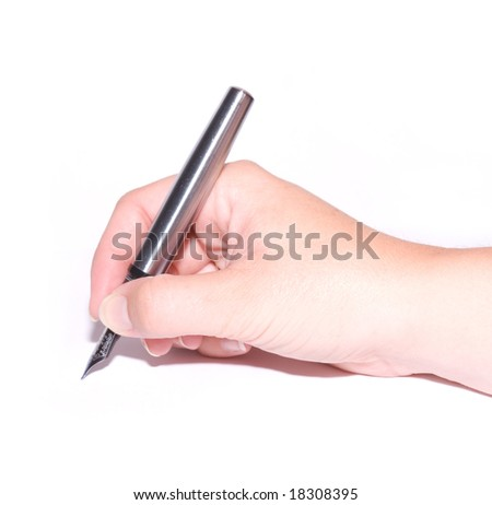 Female hand holding a pen - stock photo