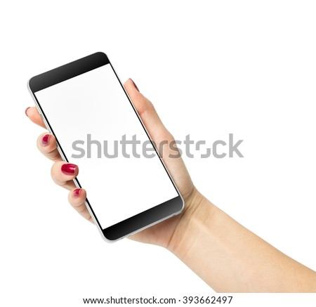 Female hand holding a phone with white screen, isolated on white with clipping path - stock photo
