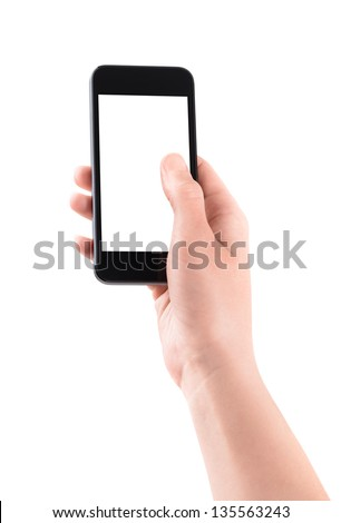 Female hand holding and touching on mobile smartphone with blank screen. Isolated on white background. - stock photo