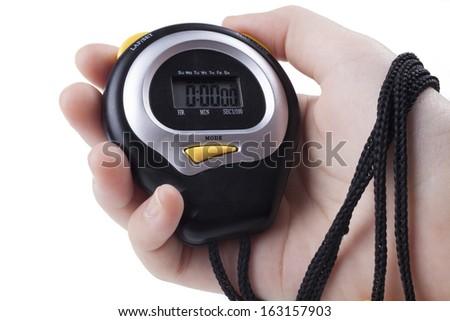 Female Hand holding Black digital stopwatch isolated on white background - stock photo
