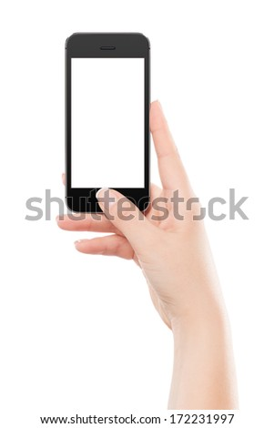 Female hand holding black modern smart phone with blank screen and pressing button by the thumb. Isolated on white background.  - stock photo