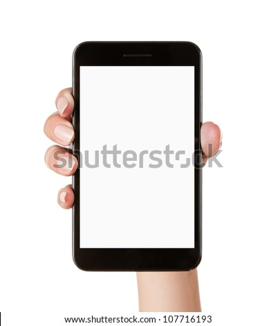 Female hand holding blank mobile smart phone isolated on white background with clipping path for the screen - stock photo