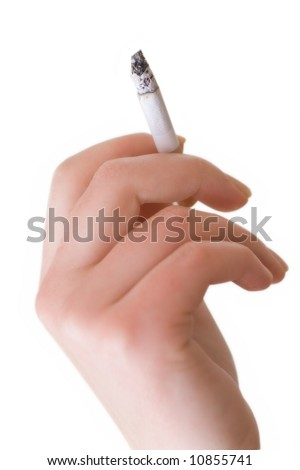 Female hand holding cigarette isolated over a white background - stock photo
