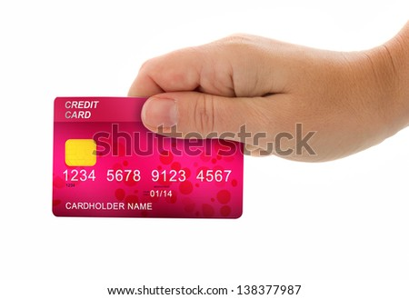 female hand holding credit card for payment isolated on white background - stock photo