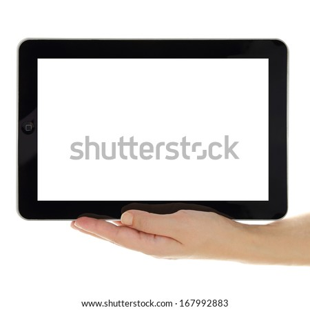 Female hand holding horizontal tablet with blank screen isolated - stock photo