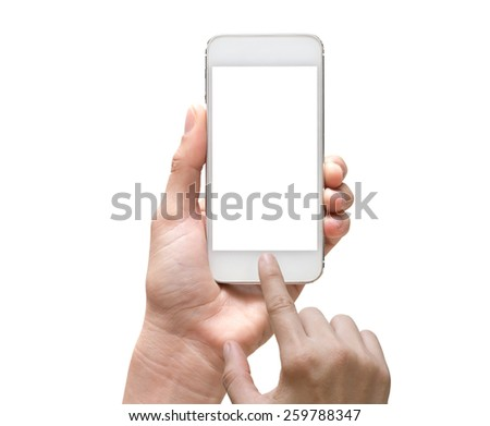 Female hand holding mobile smart phone touch screen on white background, include clipping path - stock photo