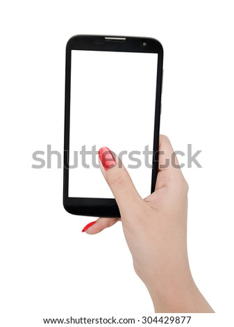 Female hand holding smart phone with blank screen - stock photo