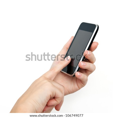 female hand holding the phone tablet touch computer gadget with a touchscreen - stock photo
