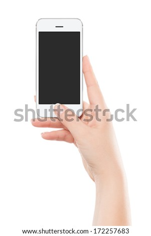Female hand holding white modern smart phone with blank screen and pressing button by the thumb. Isolated on white background.  - stock photo