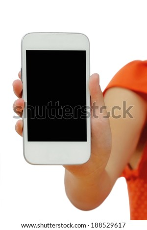female hand holding White Smartphone with blank screen on white background - stock photo