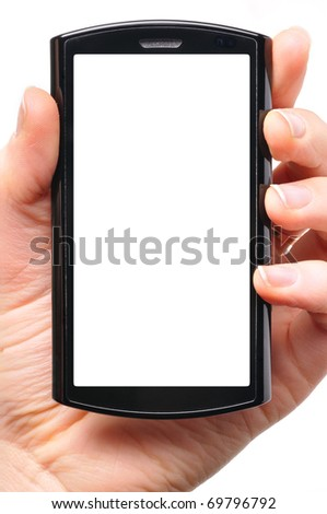 female hand is holding a modern touch screen phone. Screen is cut with clipping path - stock photo