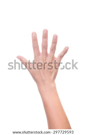 Female hand is showing five fingers isolated on white background - stock photo