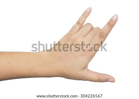 Female hand isolated on a white background - stock photo