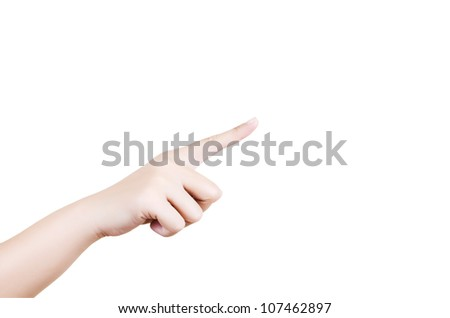 Female hand isolated, with clipping path. - stock photo