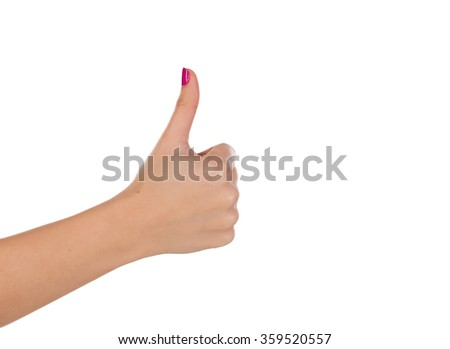 Female hand making ok sign with thumb up isolated over white - stock photo