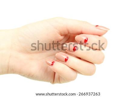 female hand manicure - stock photo