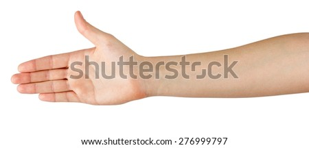 Female hand offering handshake isolated on white background, copy space, clipping pass. Closeup picture of woman shaking hand.  - stock photo