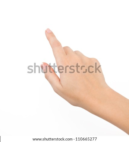 female hand on the isolated background - stock photo