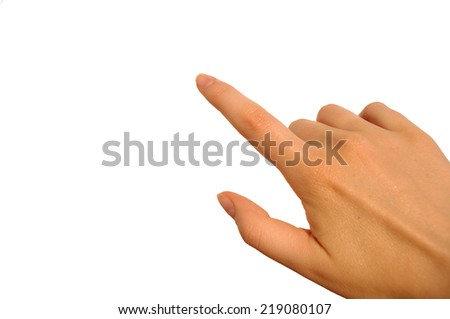 Female hand on the isolated background. Press the button or indicate something concept. - stock photo