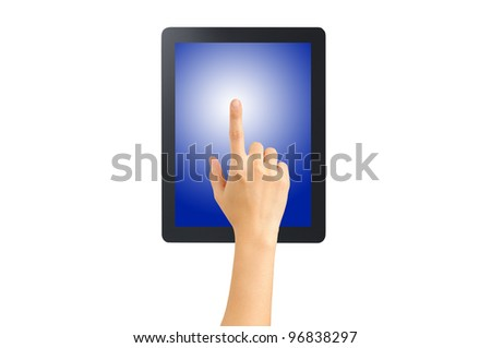 Female hand point on blank tablet pc. Include clipping path for hand, screen and tablet. Isolated on white - stock photo