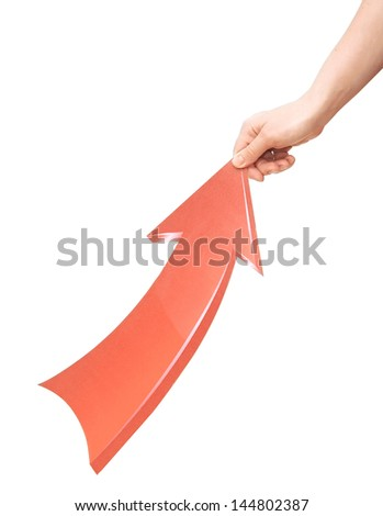 Female hand pulling up red arrow on white background - stock photo
