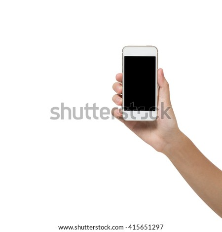 Female hand showing mobile phone, display your advertisement at blank screen. isolated on white - stock photo