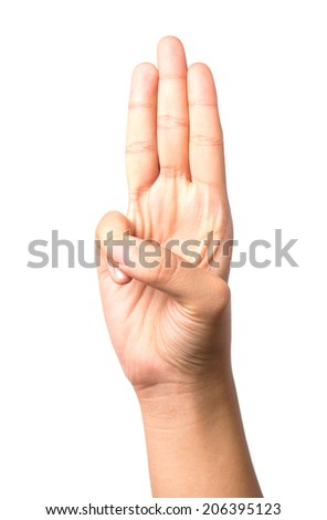 Female hand showing three fingers, Isolated on white  - stock photo
