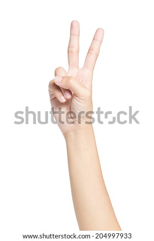 Female hand showing two fingers, Isolated on white background. - stock photo