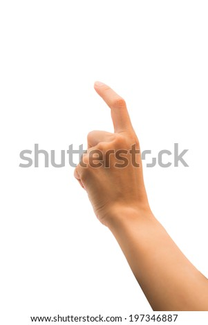 Female hand touch action  isolated on white background - stock photo