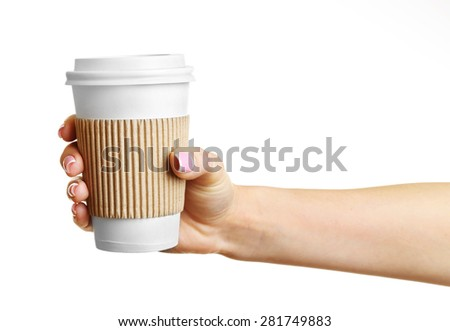 Female hand with paper cup isolated on white - stock photo