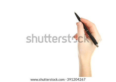 Female hand with pen on white background - stock photo