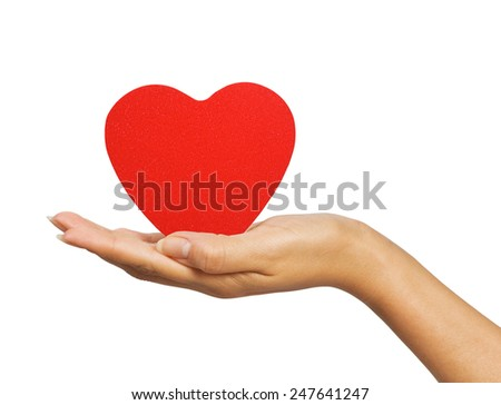 female hand with red heart isolated on white background - stock photo