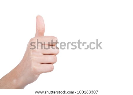 female hand with thumb up - stock photo