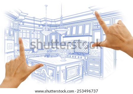 Female Hands Framing Blue Custom Kitchen Design Drawing. - stock photo