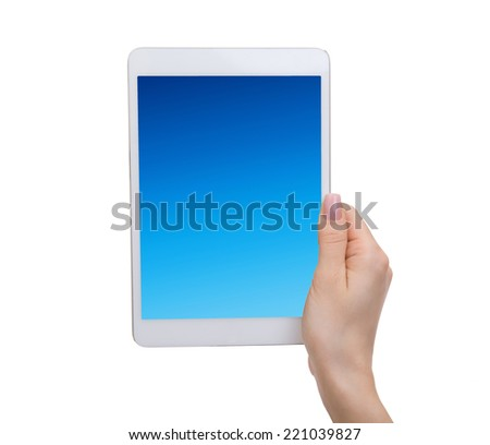 female hands holding a tablet touch computer gadget with isolated screen - stock photo