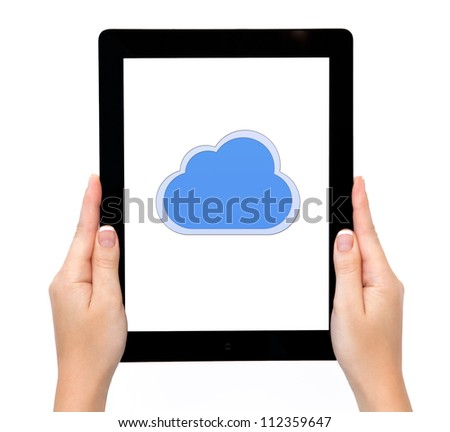 female hands holding a tablet touch computer gadget with the image of clouds - stock photo