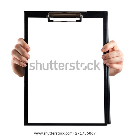 Female hands holding medical clipboard with blank sheet of paper isolated on white background. Copy space - stock photo