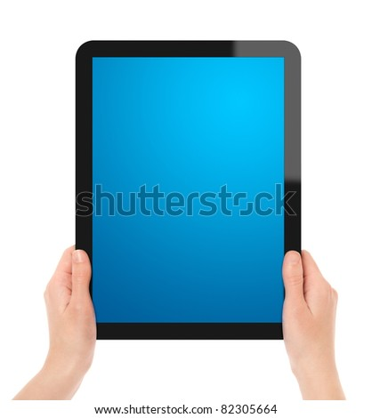 Female hands holding touch screen tablet. Include clipping path for tablet with hands and screen. Isolated on white. - stock photo