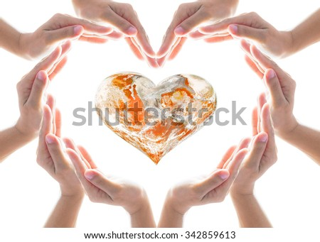 Female hands in heart shaped protecting orange color globe on white background: Orange the World: End Violence against Women and Girls concept campaign: Elements of this image furnished by NASA  - stock photo