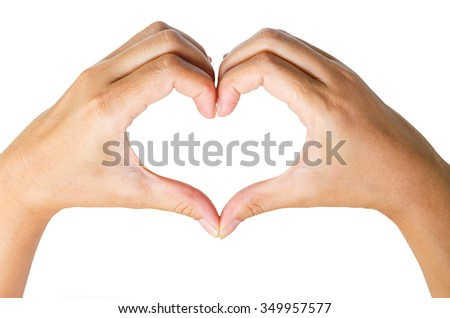Female hands in the form of  heart isolated on white background save clipping path. - stock photo
