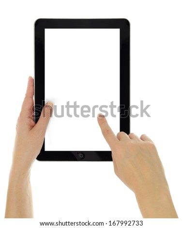 Female hands pointing on tablet with blank screen isolated - stock photo