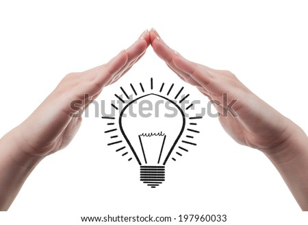 Female hands protecting a light bulb symbolizing great ideas. Protection of great idea concept, isolated on white background. - stock photo