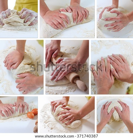 Female Hands Rolling Dough with Rollingpin for baking .Homemade Preparing Food. - stock photo