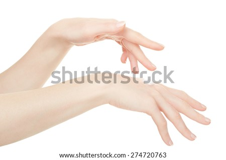Female hands with cream isolated on white, clipping path included - stock photo